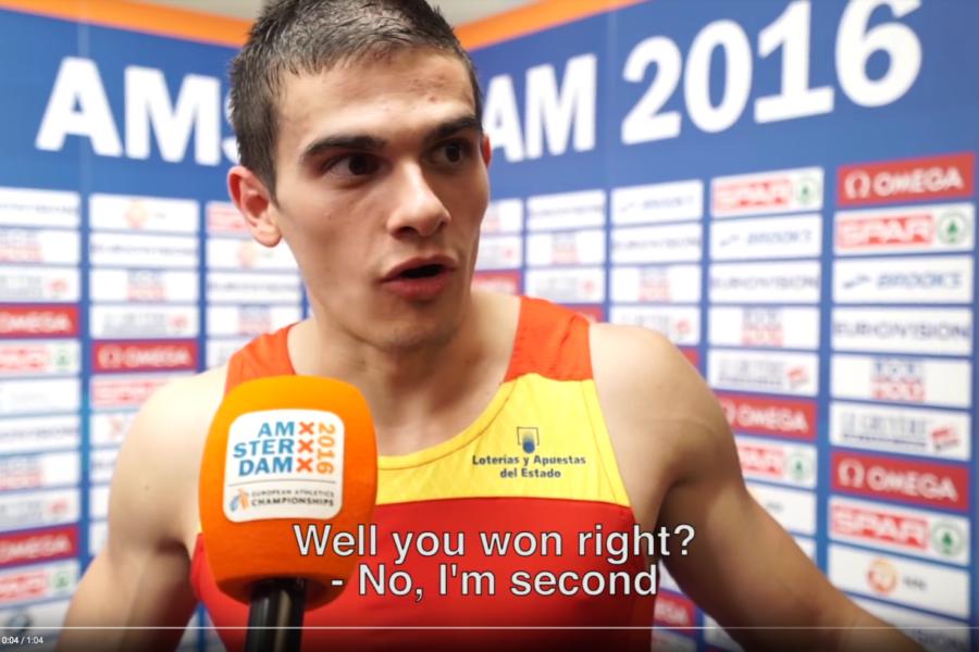 El momento en el que Bruno Hortelano se entera de que es oro en Amsterdam 2016